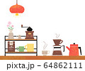 カフェの水彩風イラスト 白バック 64862111