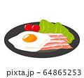 ベーコン 食材 加工食品 目玉焼き 玉子 64865253