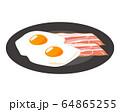 ベーコン 食材 加工食品 目玉焼き 玉子 64865255