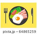 ベーコン 食材 加工食品 目玉焼き 玉子 64865259
