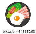 ベーコン 食材 加工食品 目玉焼き 玉子 64865263