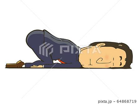 疲れて床に寝ているサラリーマン 64868719