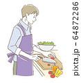 料理する男性 64872286