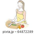 料理する女性 64872289