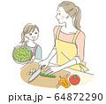 料理する親子 64872290