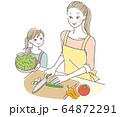 料理する親子 64872291
