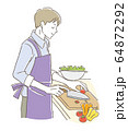 料理する男性 64872292