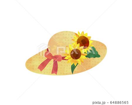 ヒマワリと麦わら帽子 64886565