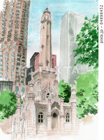 シカゴ給水塔の水彩スケッチ 64898452