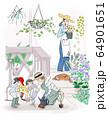 庭に花を植える家族 64901651