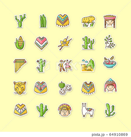 Peru printable patches. Andean country sights, traditions, agriculture, animals. RGB color stickers, pins and badges set. Alpaca, siku, poncho, cherimoya, ceviche. Vector isolated illustrations 64910869