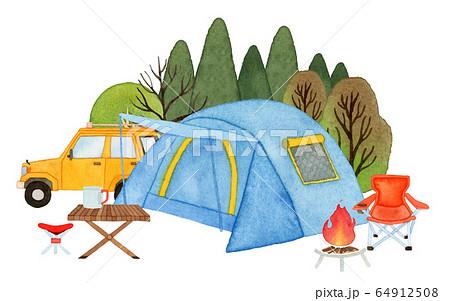 手描き水彩 キャンプ テント イラスト 64912508