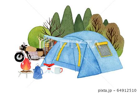 手描き水彩 ソロ キャンプ テント イラスト 64912510