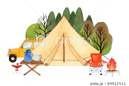 手描き水彩 キャンプ グランピング ティピー テント イラスト 64912511