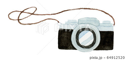 手描き水彩 カメラ イラスト 64912520