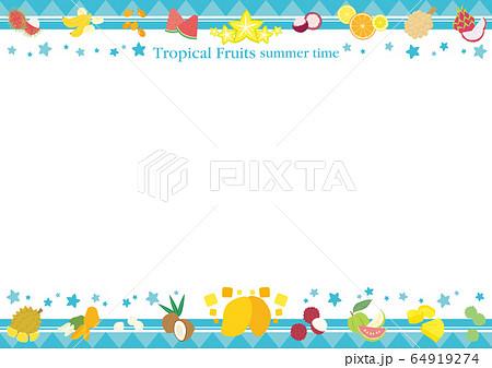 東南アジアのトロピカルフルーツのフレーム 白背景 64919274