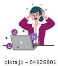 女性 主婦 パソコン コンピュータウイルス コンピュータバグ ウイルス 64926801