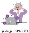 女性 主婦 シニア パソコン コンピュータウイルス コンピュータバグ ウイルス 64927301