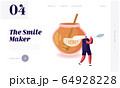 Natural Healthy Sweeteners Website Landing Page. Tiny Male Character Carry Huge Spoon near Glass Jar Full of Honey 64928228