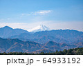 高尾山 登山道 小仏城山・山頂から眺望する富士山 晩秋 64933192