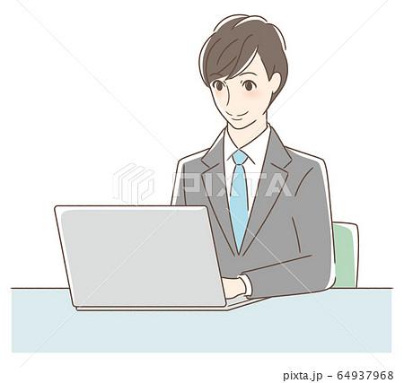 パソコンを操作して笑顔の男性 64937968