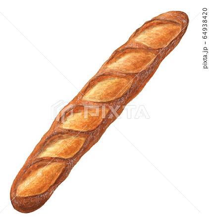 バゲット パン 手描き 水彩 64938420