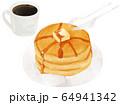 コーヒー パンケーキ 手描き ベクター 64941342