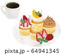 コーヒー カップケーキ 手描き ベクター 64941345