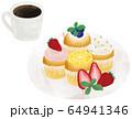 コーヒー カップケーキ 手描き ベクター 64941346
