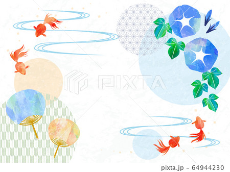 Japanese stlye frame with goldfish, fan and 64944230