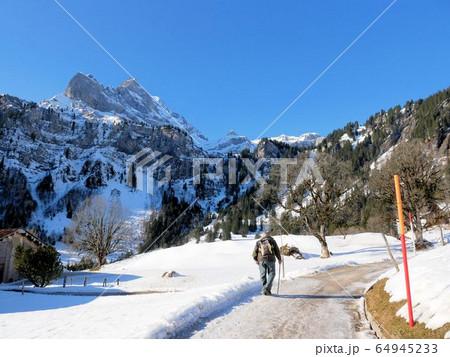 アルプスの雪道を歩く老人 (スイス・ブラウンヴァルト村) 64945233