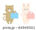 手提げかばんを持つ猫とうさぎ 64949301