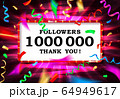 1 million followers or prize white background. 64949617