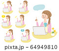 パソコン 若い女性 表情 人物セット 64949810