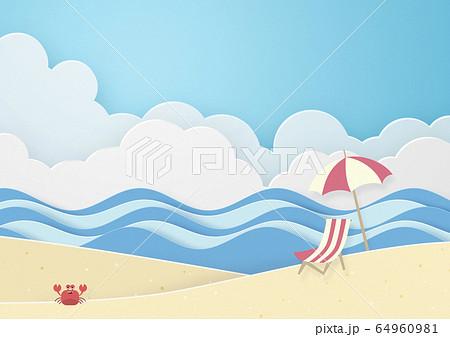 夏のビーチ-カニさん 64960981