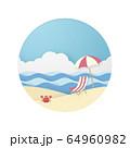 夏のビーチ-カニさん 64960982