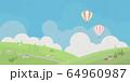 町-草原-丘-青空-気球 64960987