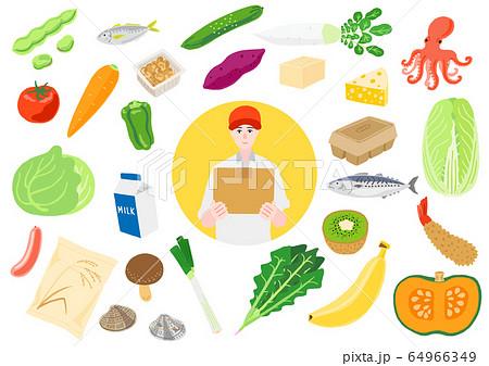 ネットスーパー 食材の宅配 小包を持っている配達員の男性 64966349