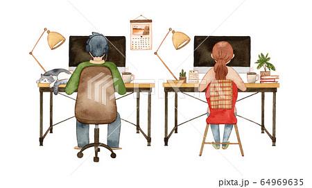 手描き水彩|パソコンに向かう男女  水彩イラスト 64969635