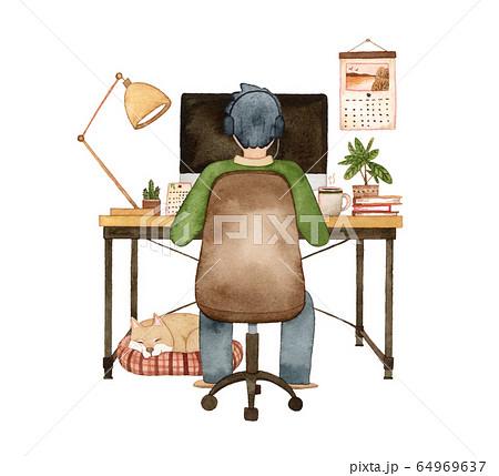 手描き水彩|パソコンに向かう男性と犬  水彩イラスト 64969637
