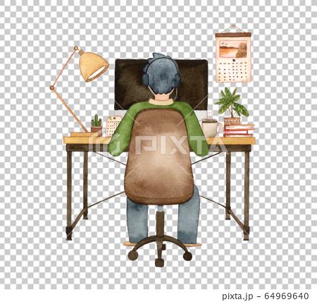 手描き水彩|パソコンに向かう男性  水彩イラスト 64969640