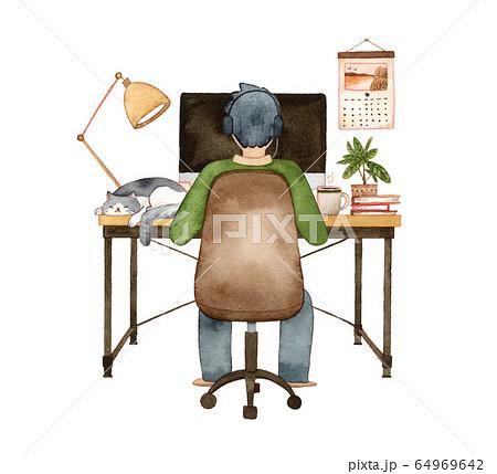 手描き水彩 パソコンに向かう男性と猫  水彩イラスト 64969642