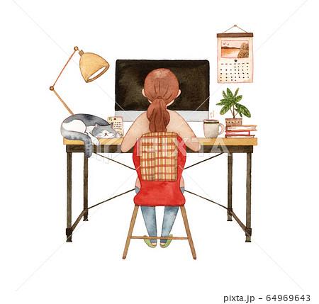 手描き水彩|パソコンに向かう女性と猫  水彩イラスト 64969643
