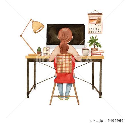 手描き水彩 パソコンに向かう女性  水彩イラスト 64969644