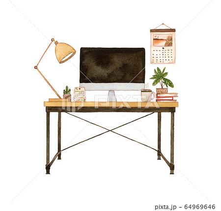 手描き水彩|パソコン デスク 水彩イラスト 64969646