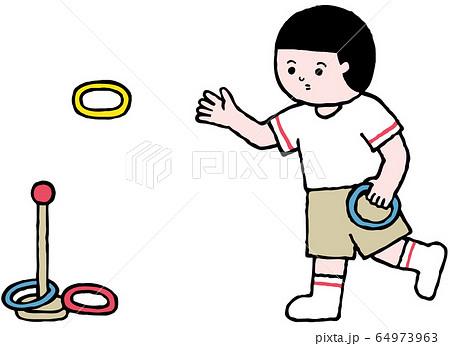 輪投げをする人物(カラーver) 64973963