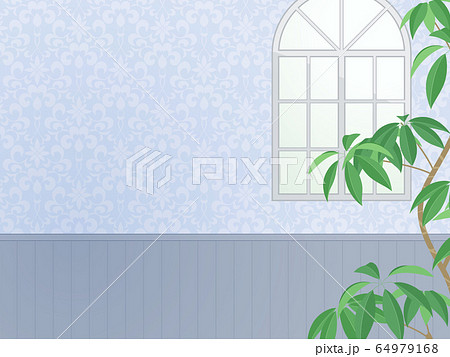 アーチ窓のある壁の風景イラスト_青 64979168