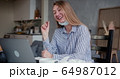 Young beautiful happy blonde woman using laptop to chat with friends on video call from home with her face mask off. 64987012