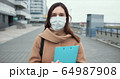 Epidemic control worker. Portrait of Caucasian social care woman in medical face mask in empty street during quarantine. 64987908