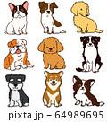 色々な犬おすわりセット 主線あり 64989695